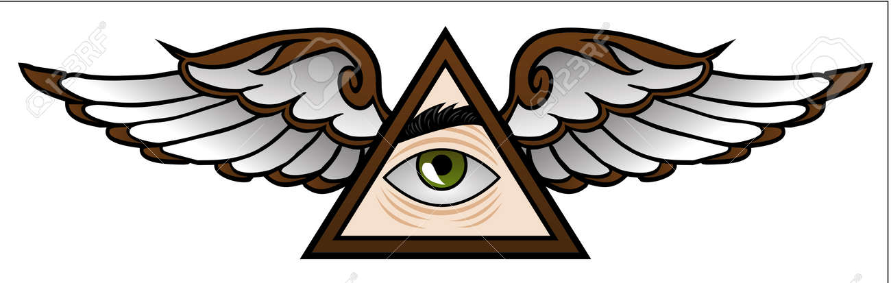 Funny Symbol Of The Illuminati In Cartoon Style Royalty Free