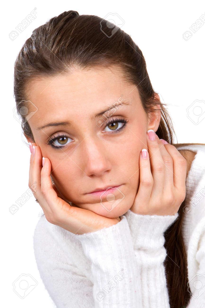 Trauriges Gesicht Junge Frau Halt Ihr Gesicht In Ihren Handen