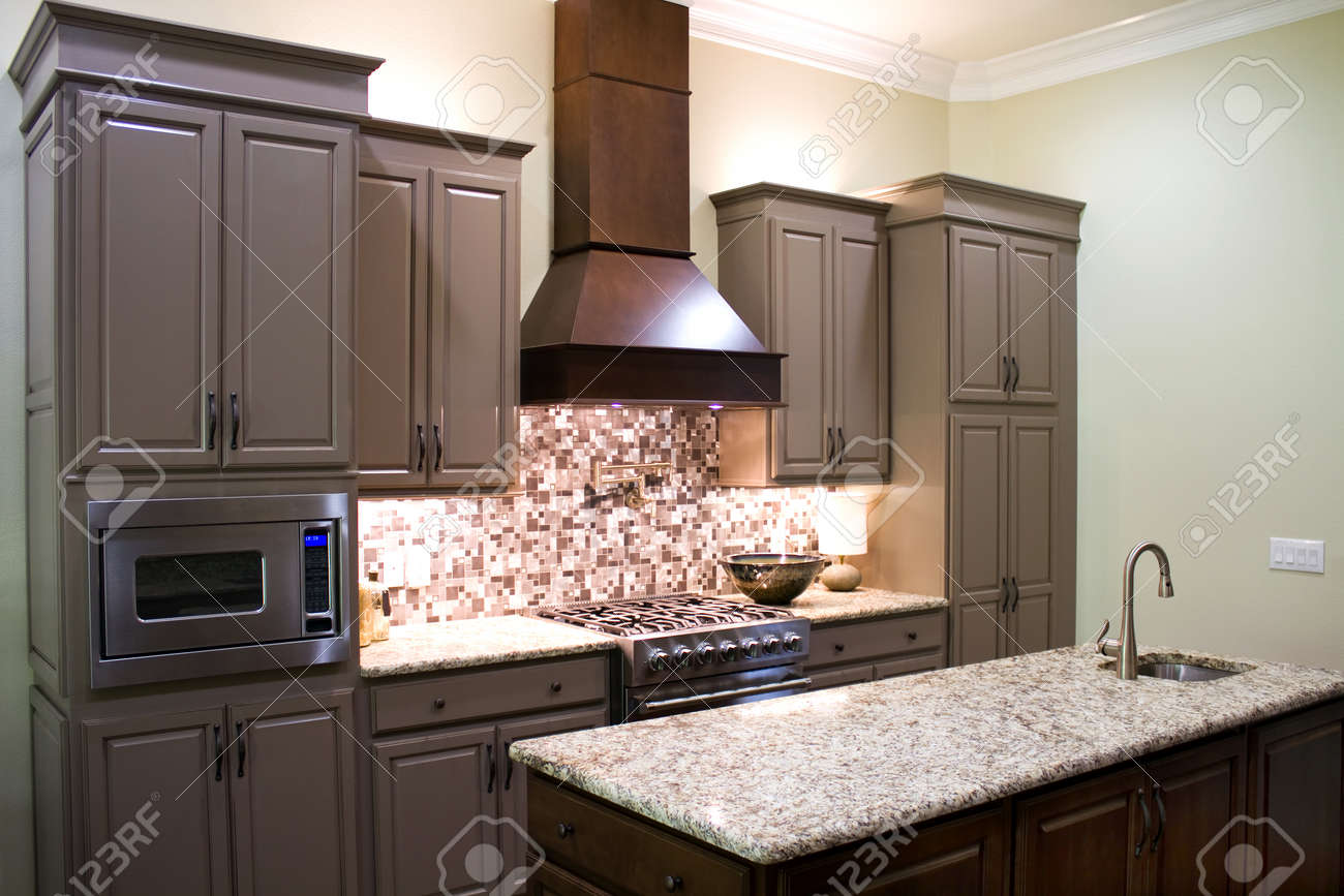 New Modern Luxury Kitchen Cabinets, With Gas Stove And Granite Countertops  And High Ceiling.