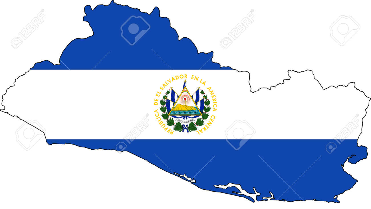 El Salvador Map With National Flag And Coat Of Arms. Isolated ...
