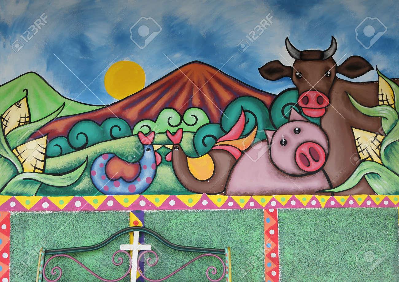 Un Murale Colorati Dipinti Sui Muri Di Una Strada In Ataco Una