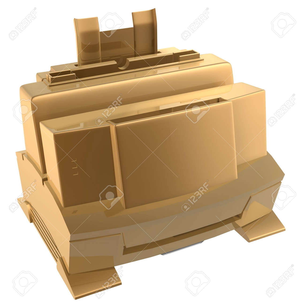 3d golden printer of office Stock Photo - 539180