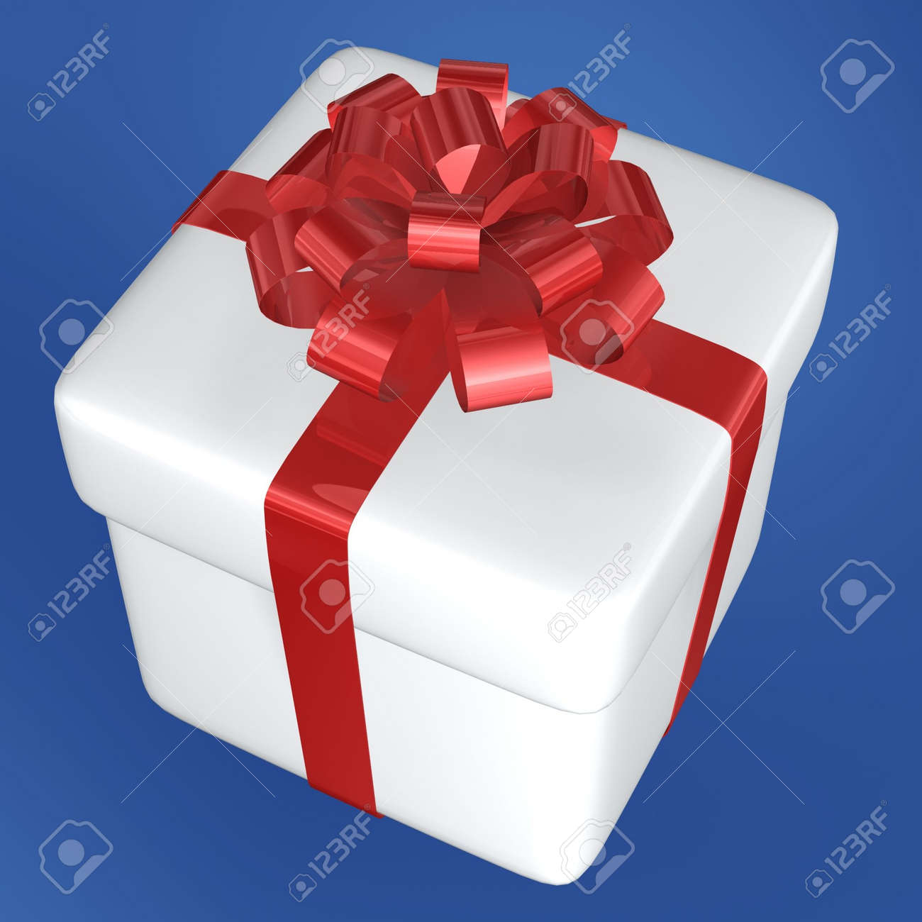 white gift box and red ribbon of christmas Stock Photo - 639112