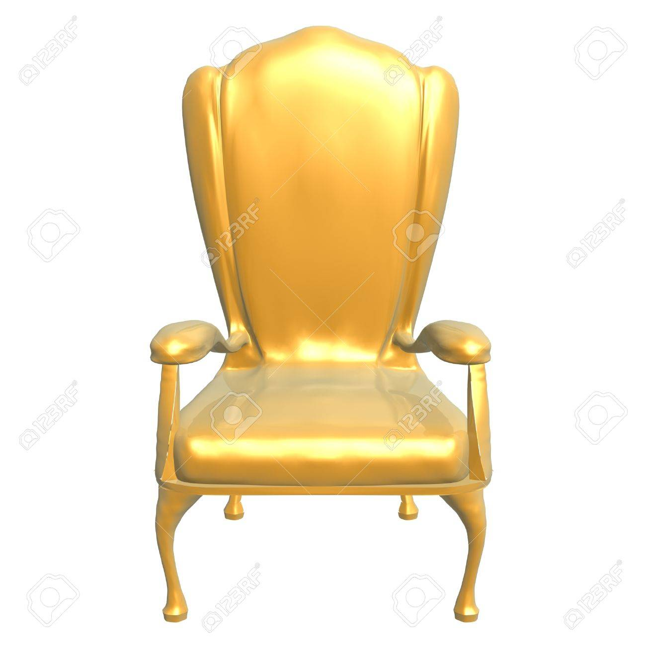 Merveilleux Golden Chair Of King Isolated On White Background Stock Photo   1406120