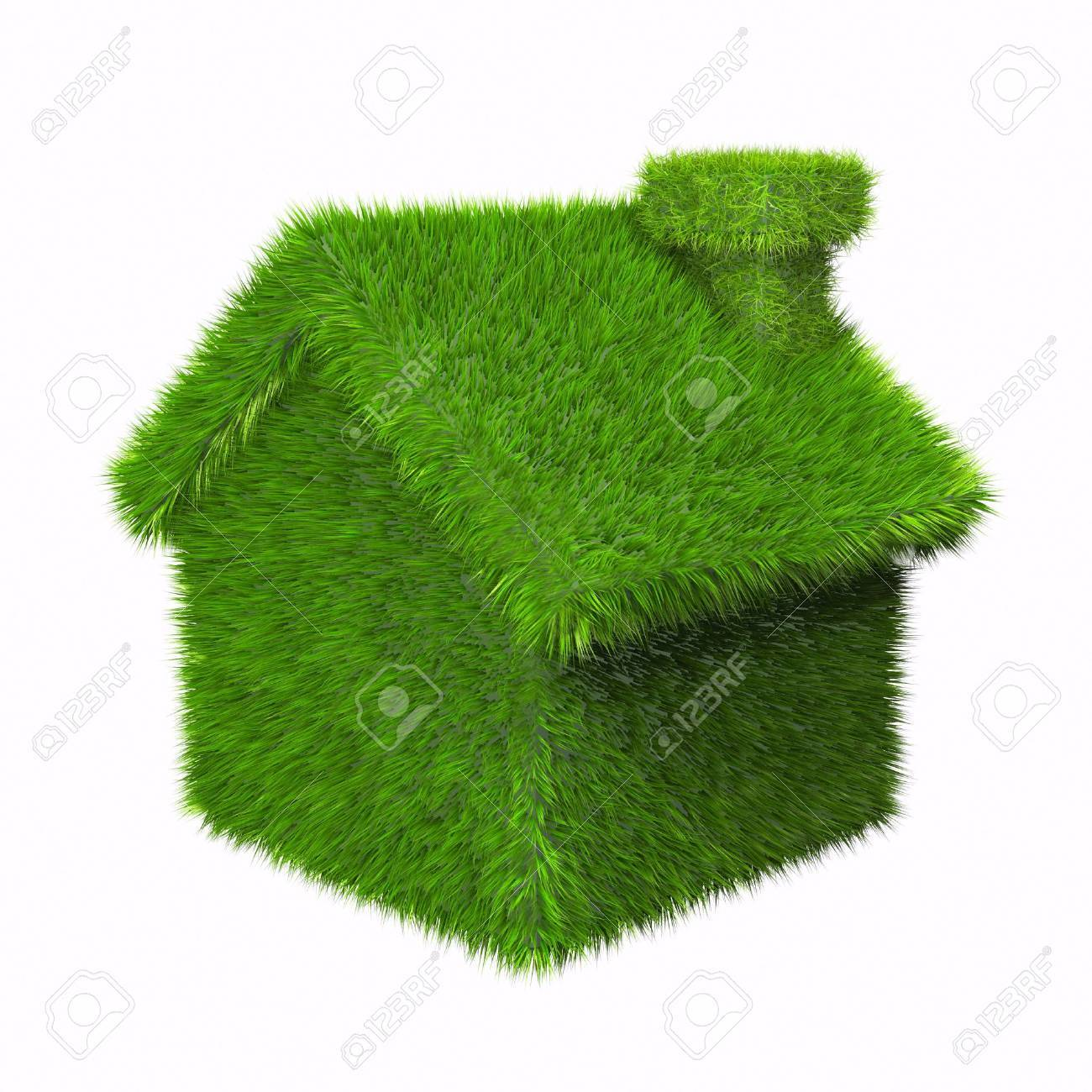 green grass house isolated on white background Stock Photo - 2812433