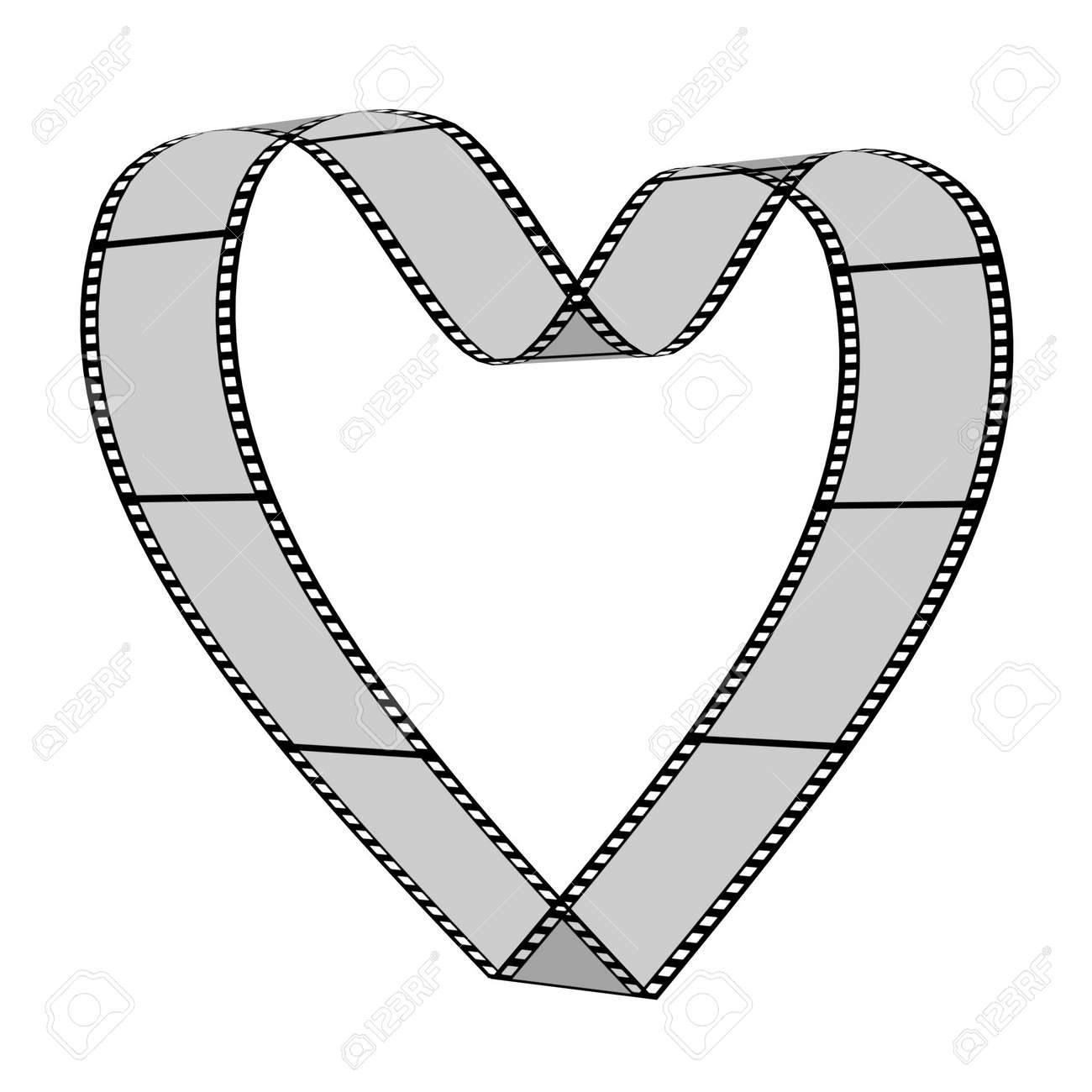 3d blank films heart over white background Stock Photo - 3074060
