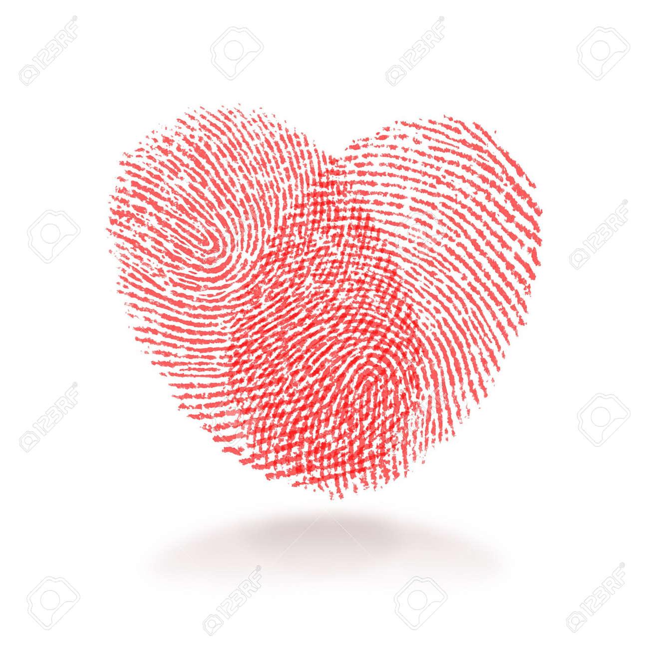 Red Fingerabdruck Herz Form Auf Weissem Hintergrund Lizenzfreie Fotos