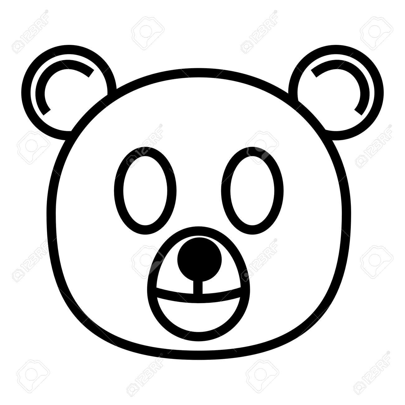 outline cartoon head of bear isolated on white background stock