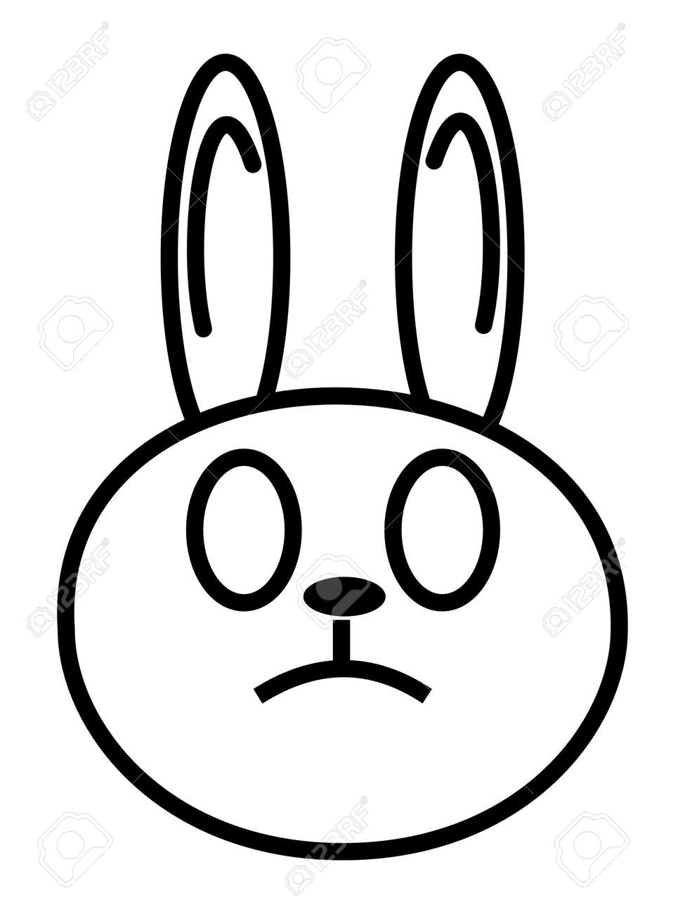 outline cartoon head of rabbit isolated on white background stock