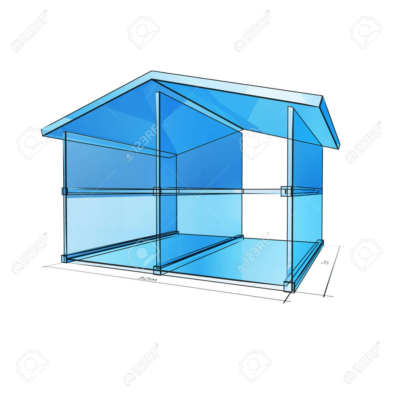 Solid Glass Frame House Blueprint Isolated On White Background Stock Photo    4707754
