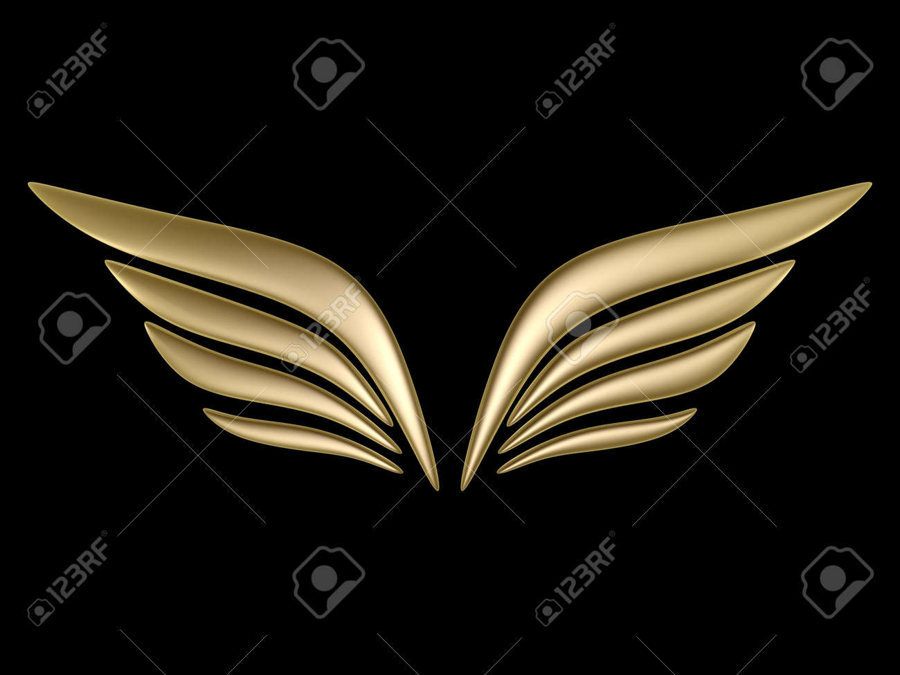 3d bird wing symbol isolated on black background stock photo 4764833