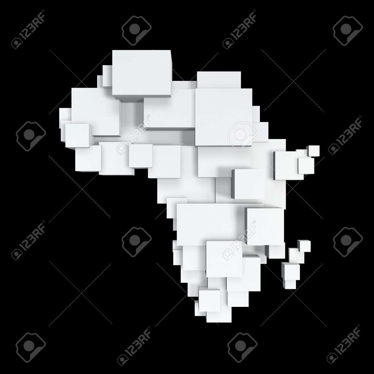 box map of africa isolated on black background Stock Photo - 6994072