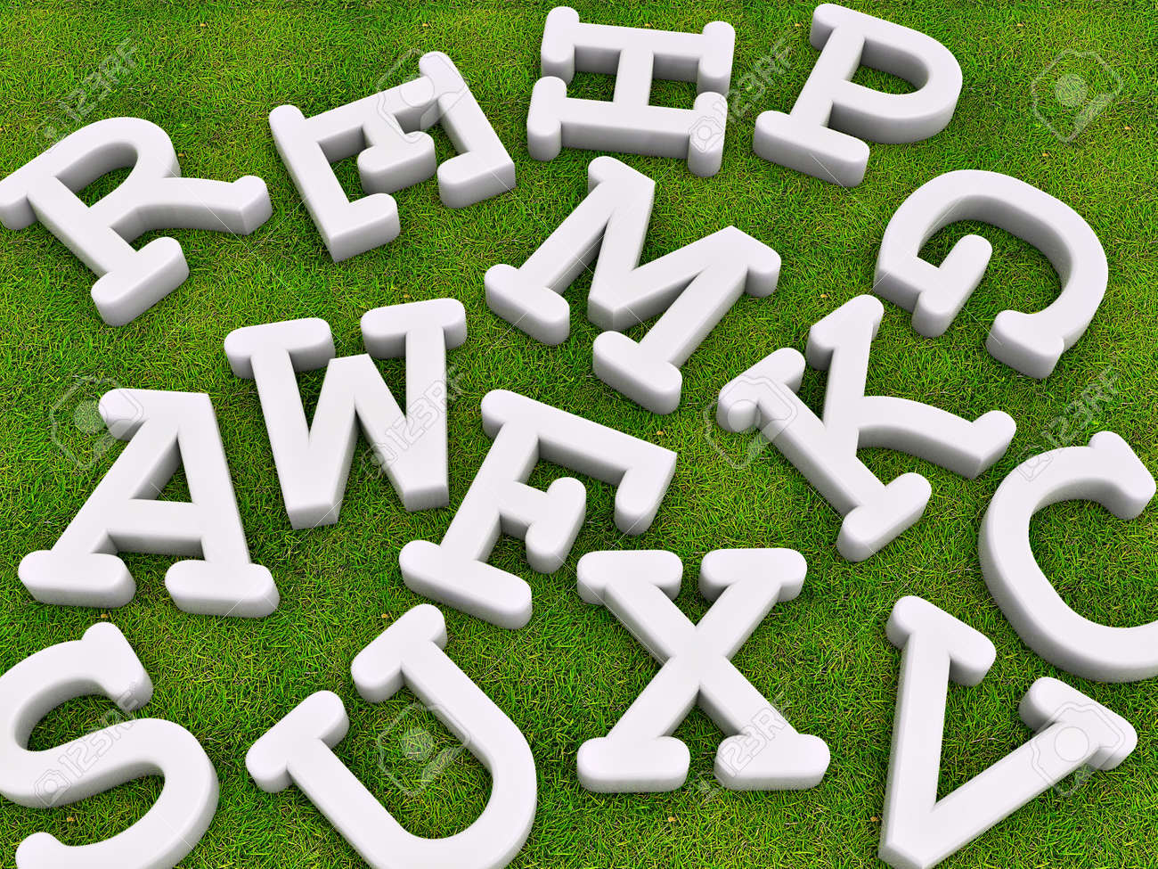 white solid letters on grass ground background Stock Photo - 9301698