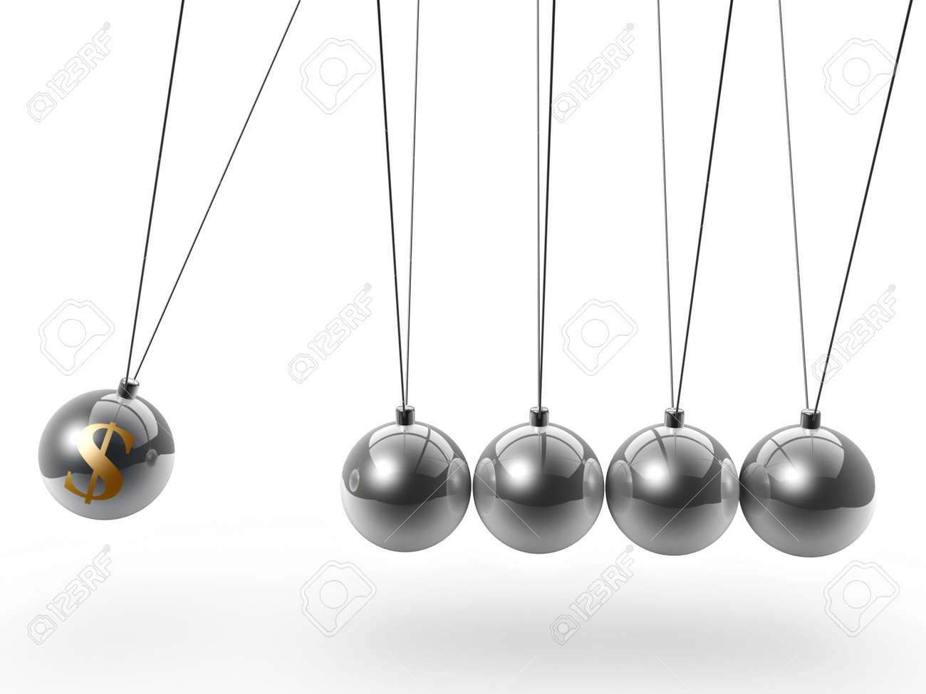 dollar symbol newton's cradle isolated on white background Stock Photo - 9579918