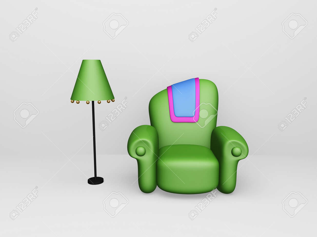 toon sofa and floor lamp in white space Stock Photo - 9579929