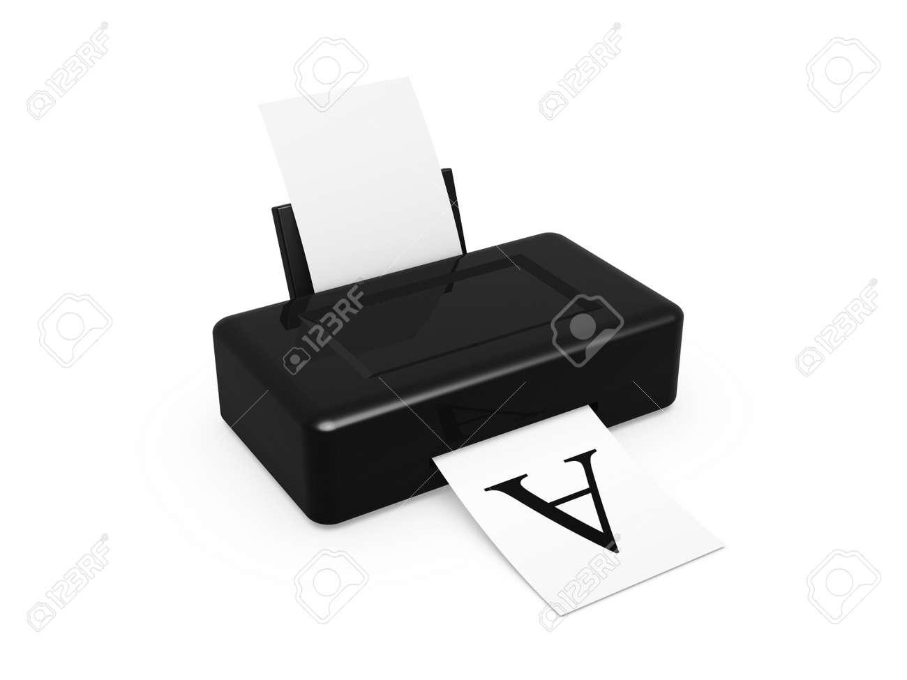 black printer print test font on white background Stock Photo - 11739974