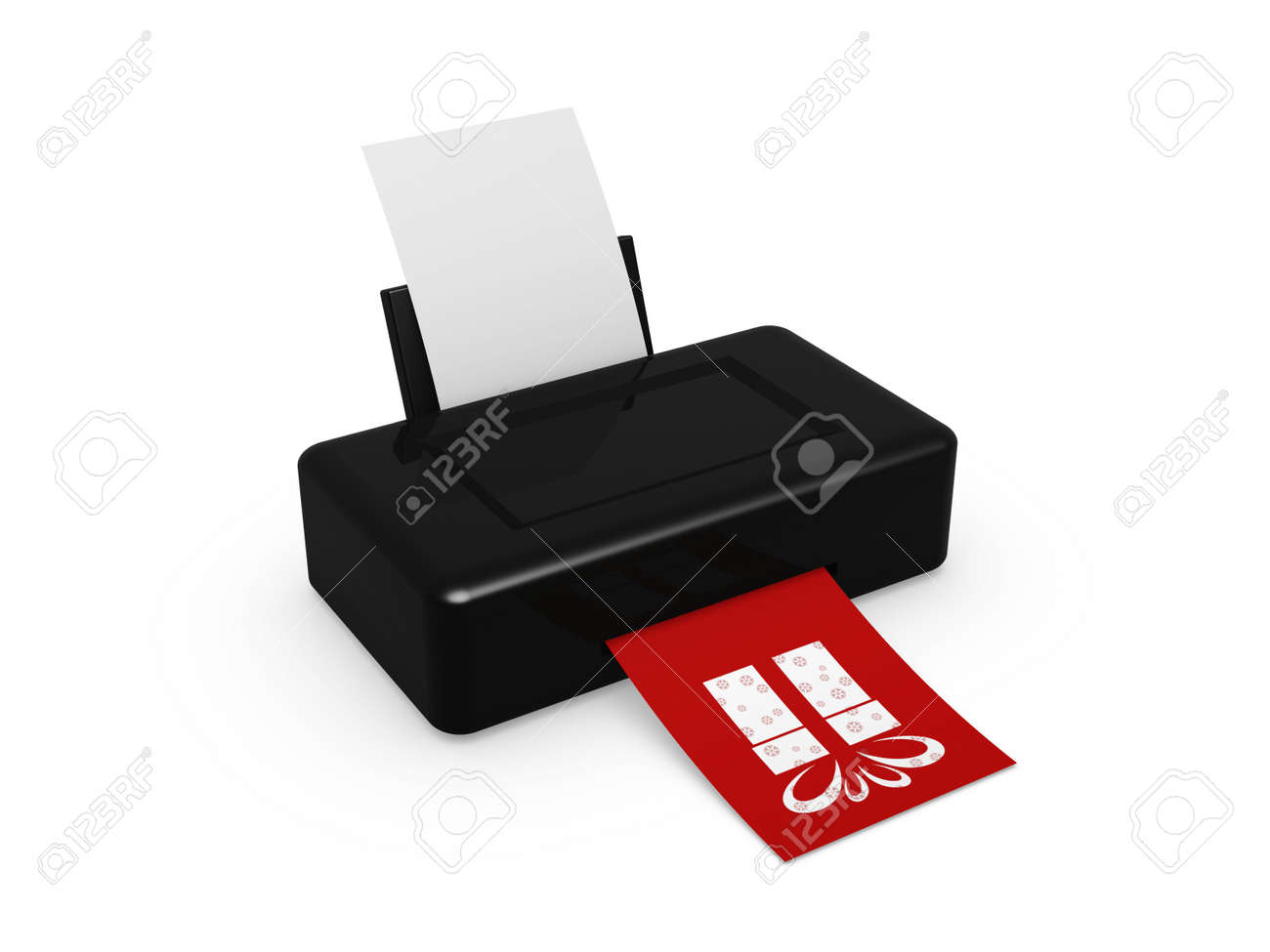 black printer print gift image on white background Stock Photo - 11739976