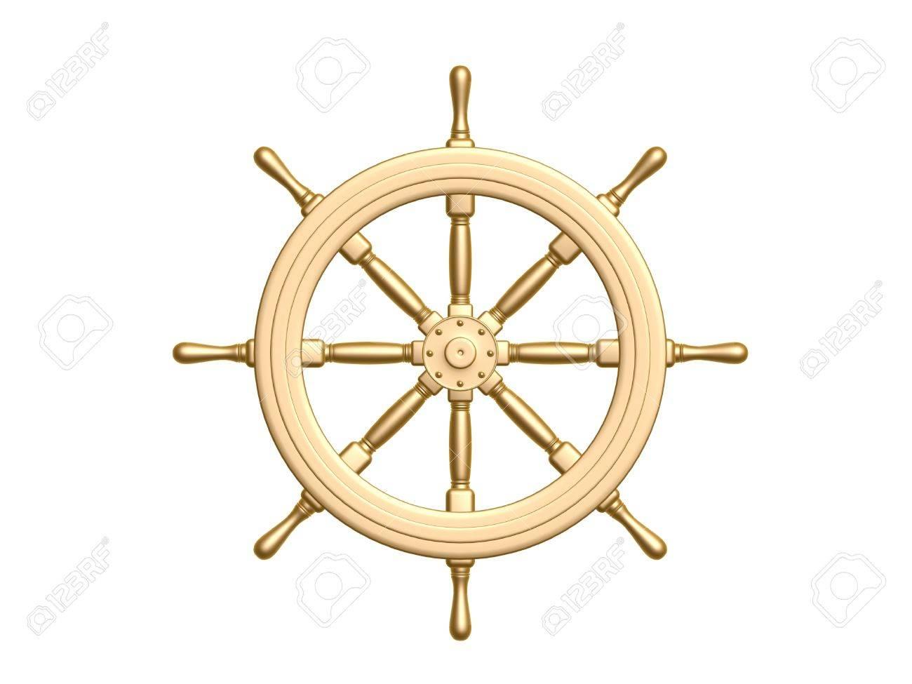 golden Steering wheel isolated on white background Stock Photo - 12321448