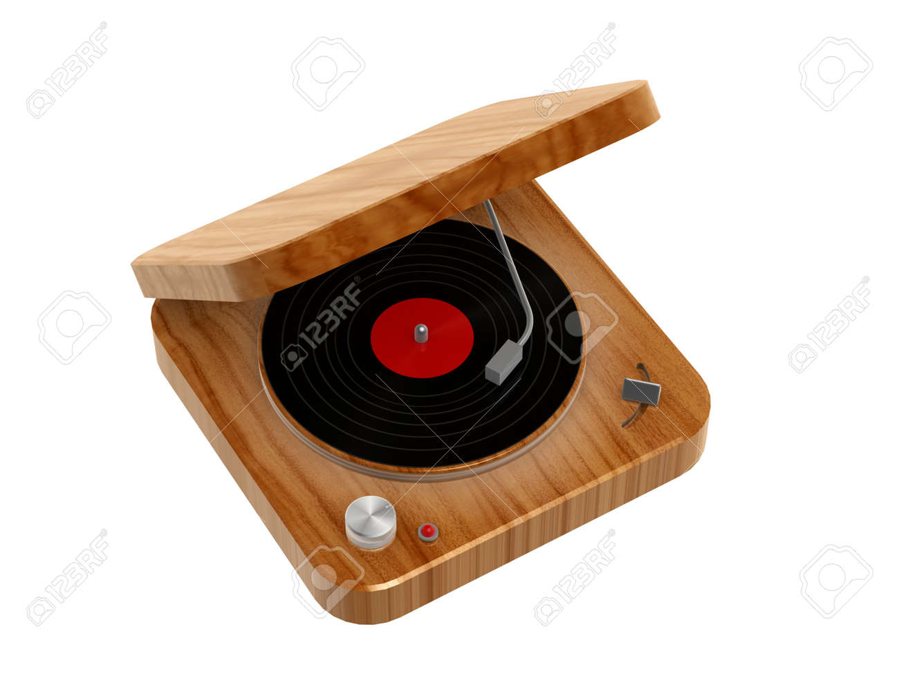 3d wooden Phonograph isolated on white background Stock Photo - 14019536