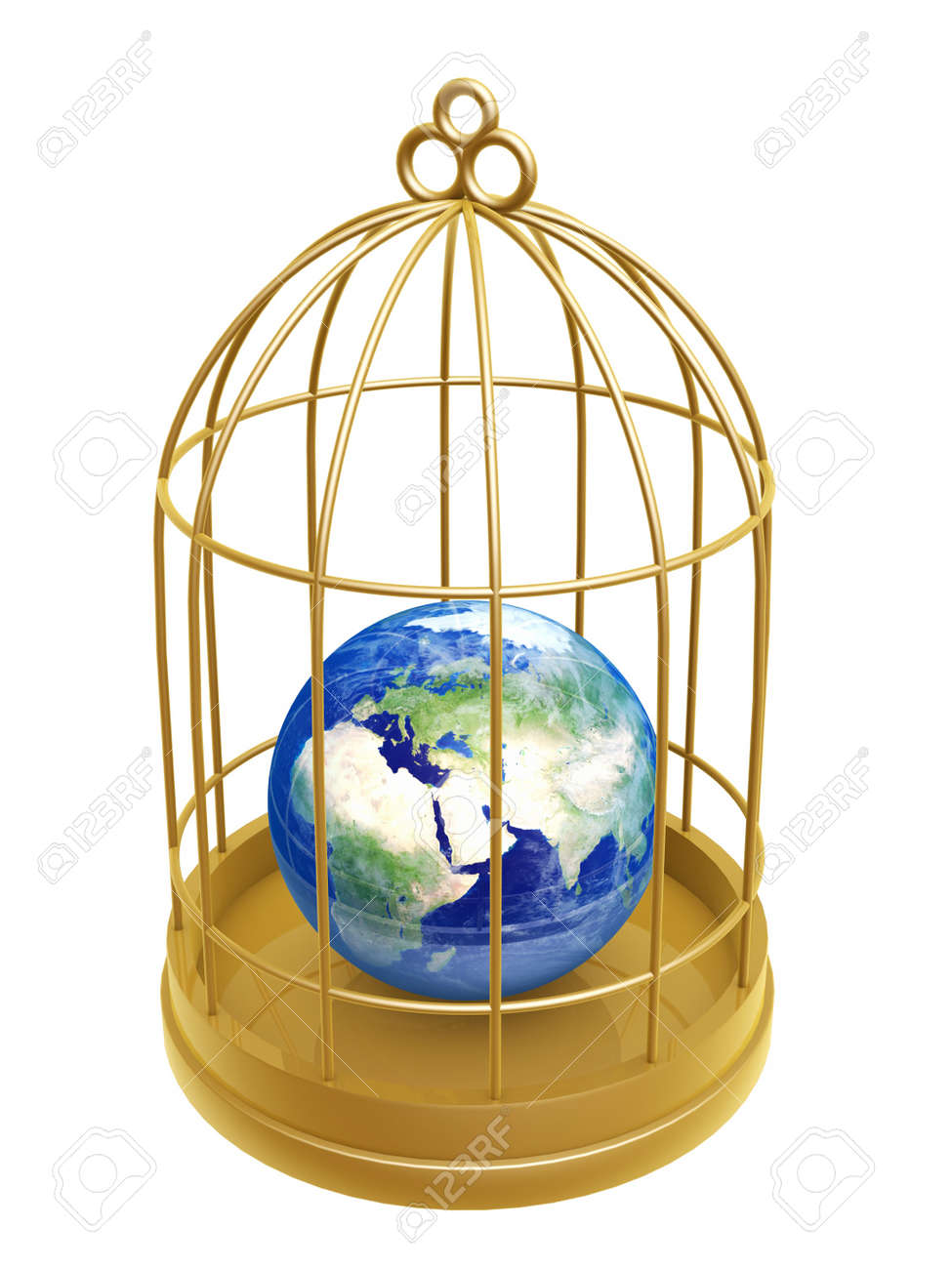 golden birdcage and earth isolated on white background Stock Photo - 16961262