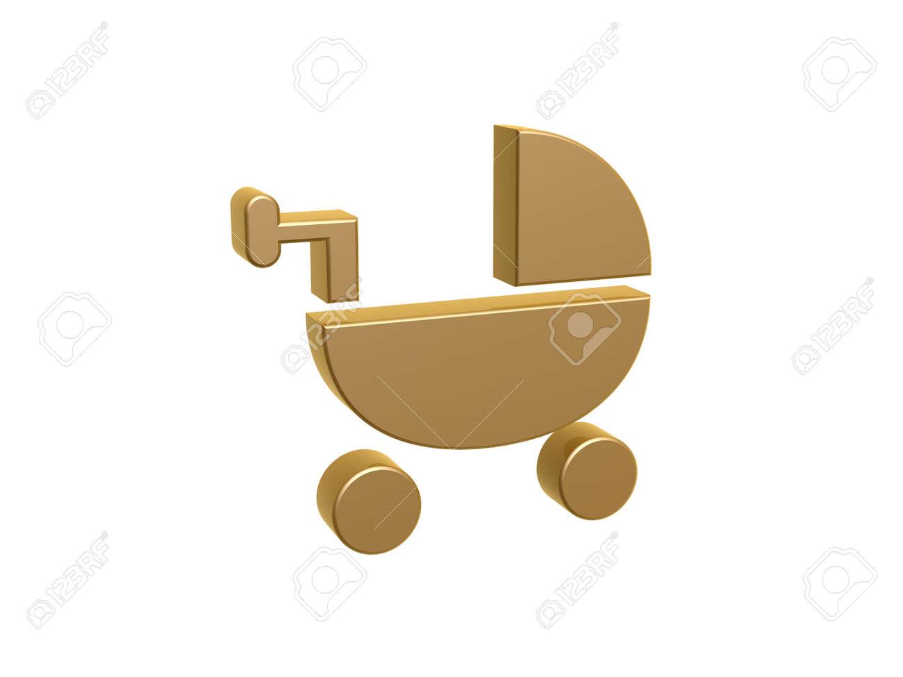 Golden baby stubenwagen symbol auf weißem hintergrund lizenzfreie