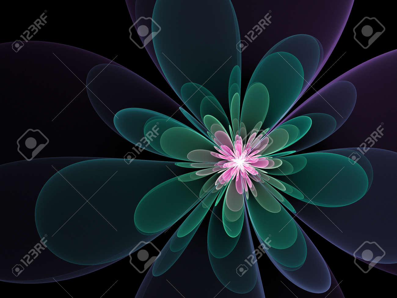 Pink Silk Lotus Flower Rays On Dark Background Stock Photo Picture