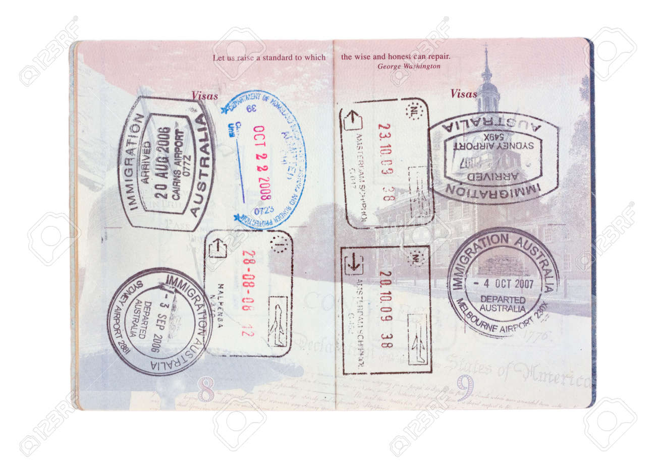 Stamps from australia italy the netherlands and usa in a united stamps from australia italy the netherlands and usa in a united states passport isolated ccuart Images