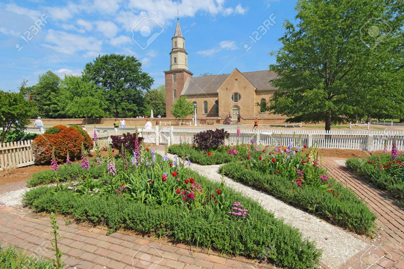 Gardens Of Colonial Williamsburg In Front Of Bruton Parish Church In Spring  The Restored Town Is