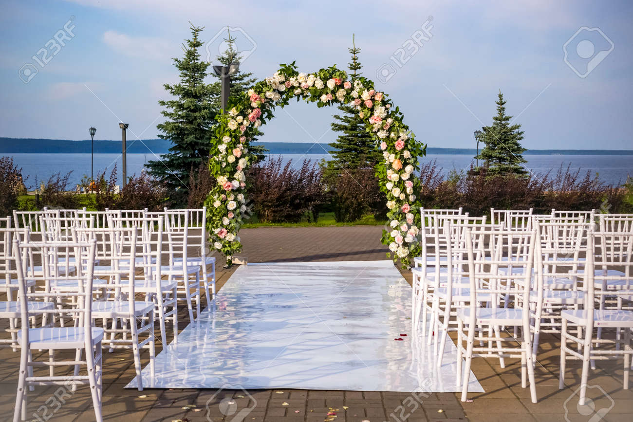 Outdoor Wedding Ceremony Place With Wedding Arch Stock Photo Picture And Royalty Free Image Image 130441198