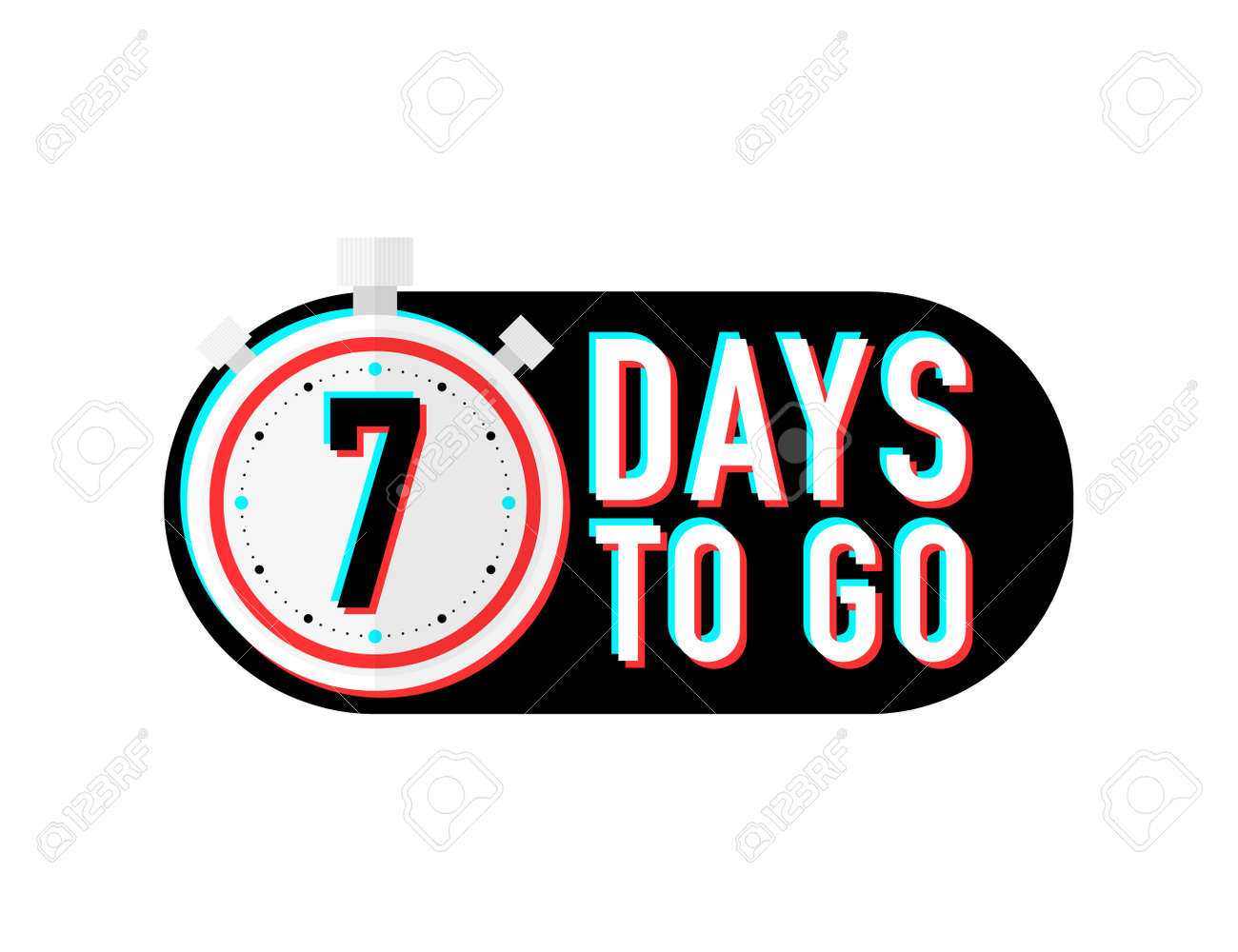 Timer number seven days to go countdown vector illustration template on white background. Vector - 164122279