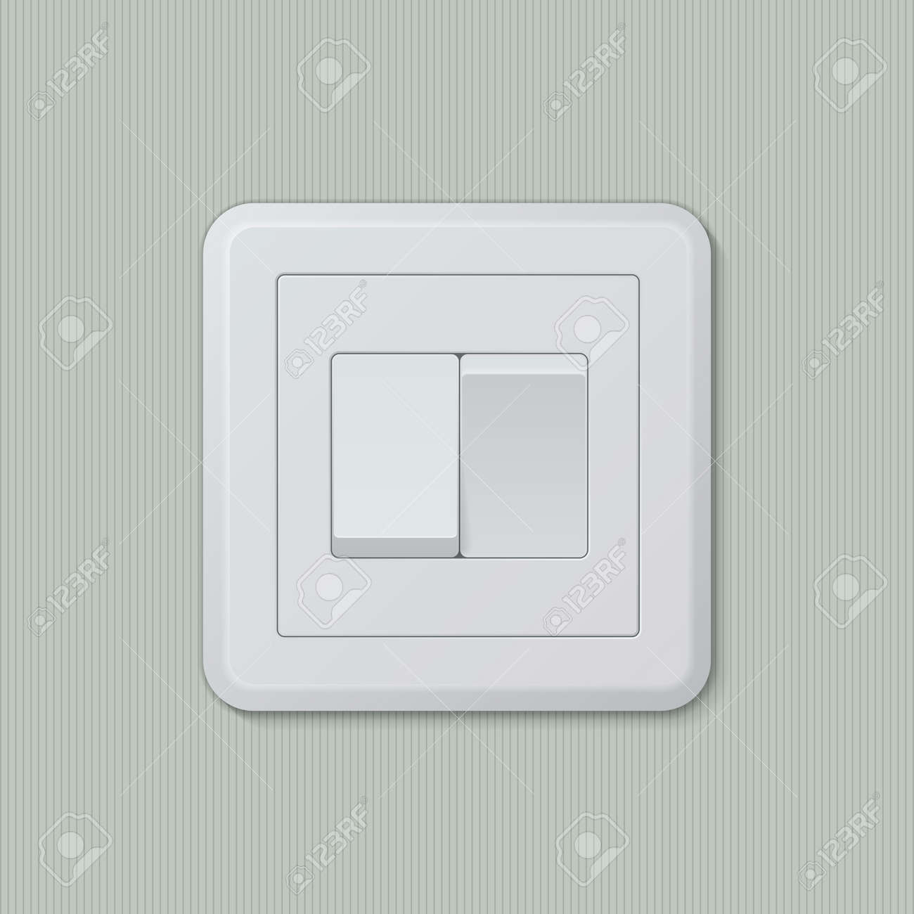Realistic Plastic White Double Light Switch In Different Positions ...