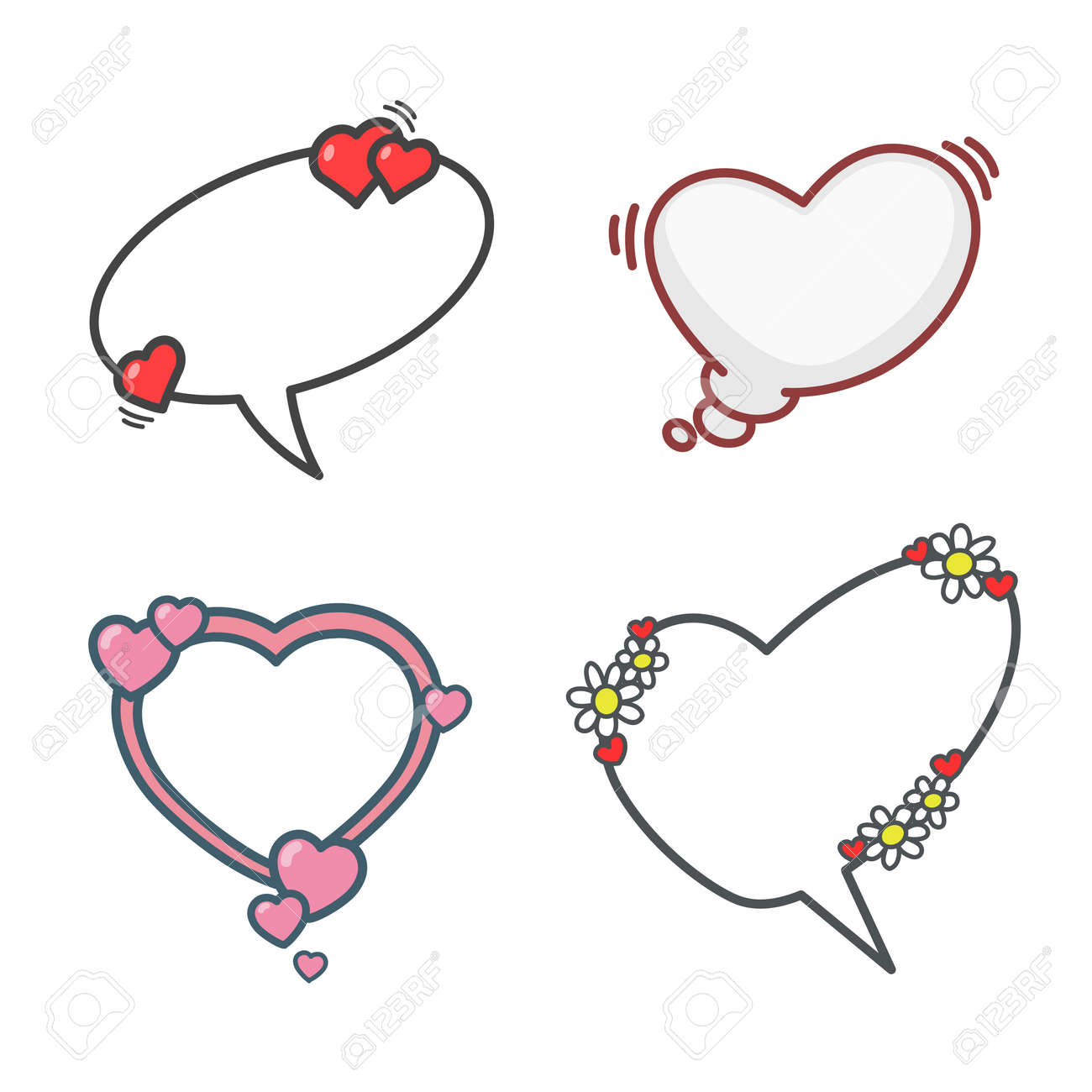 Valentines Day Cartoon Elements Set Speech Bubbles Flowers And Hearts Vector Illustration