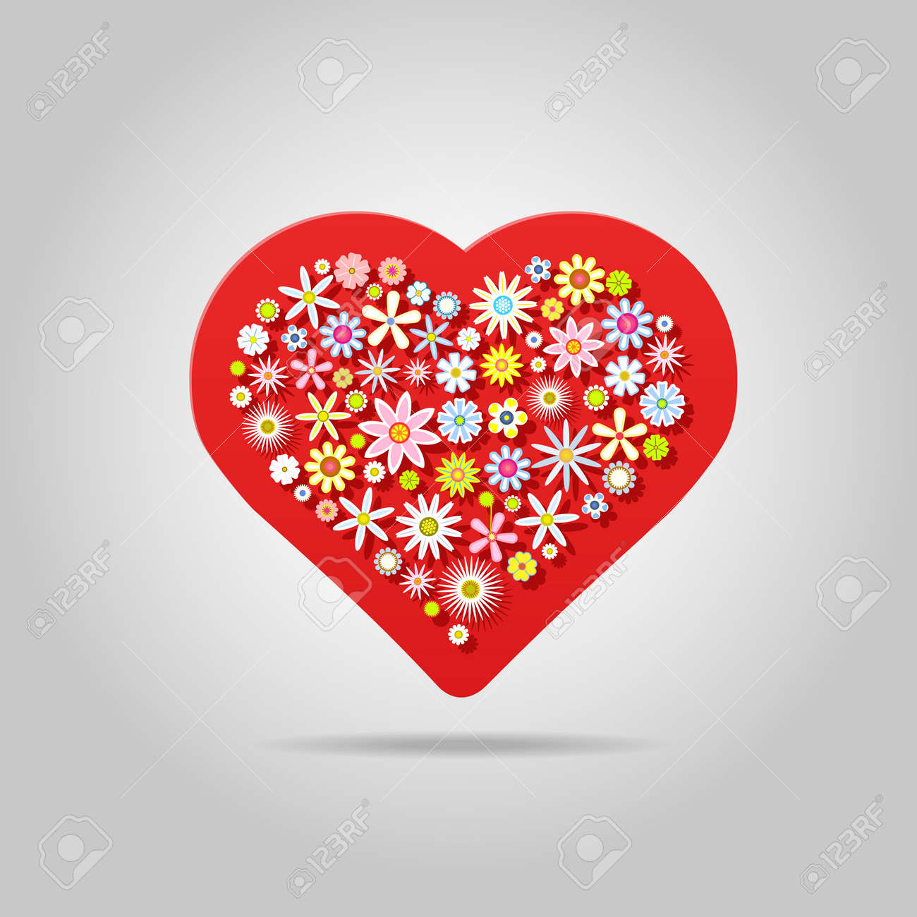 Heart shaped flowes greeting card for valentines day and any heart shaped flowes greeting card for valentines day and any love event vector illustration m4hsunfo