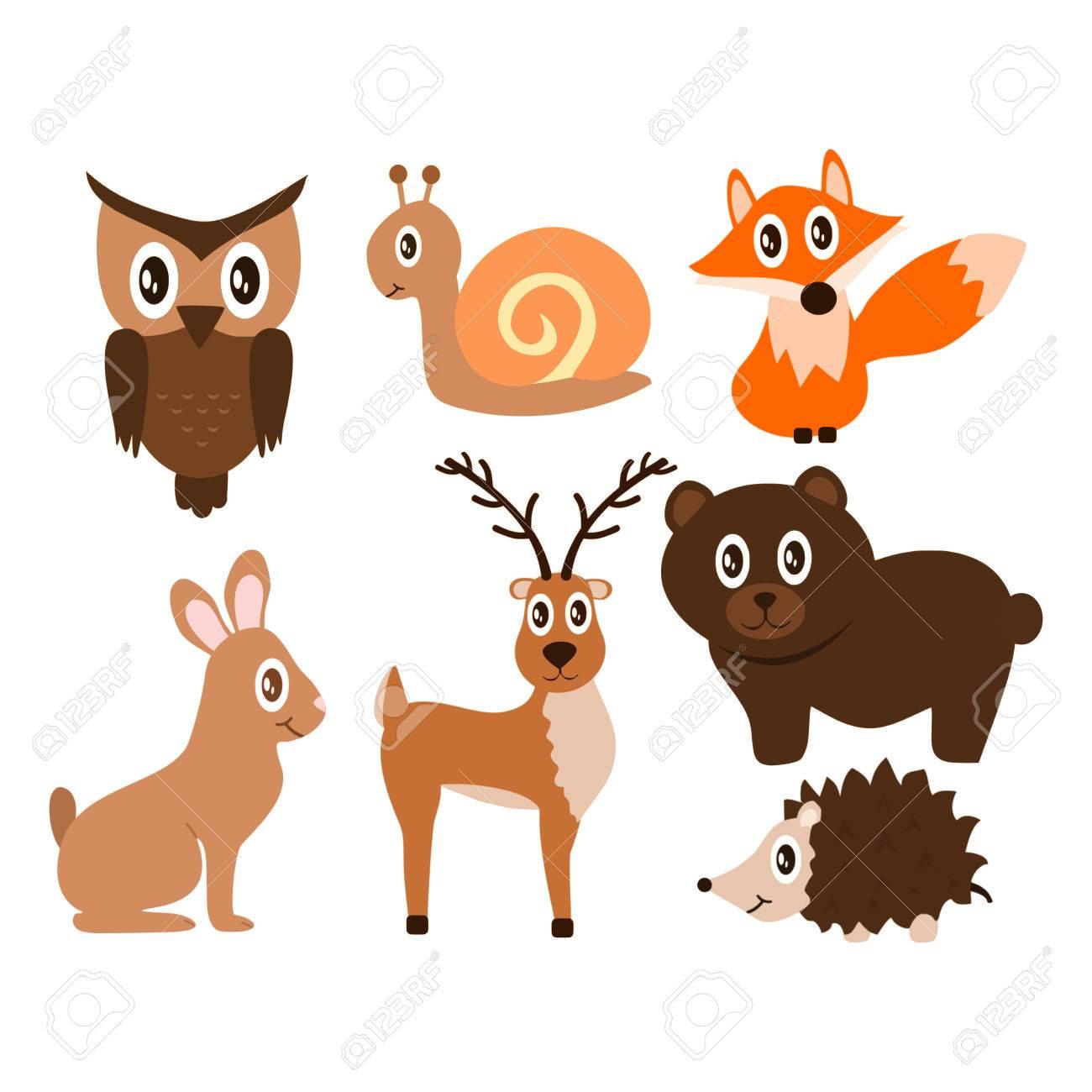 森のかわいい動物ベクトル イラスト ロイヤリティフリークリップアート