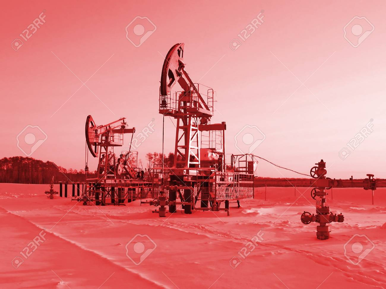 Oil pump jack in work  Oil industry in West Siberia  Siberian