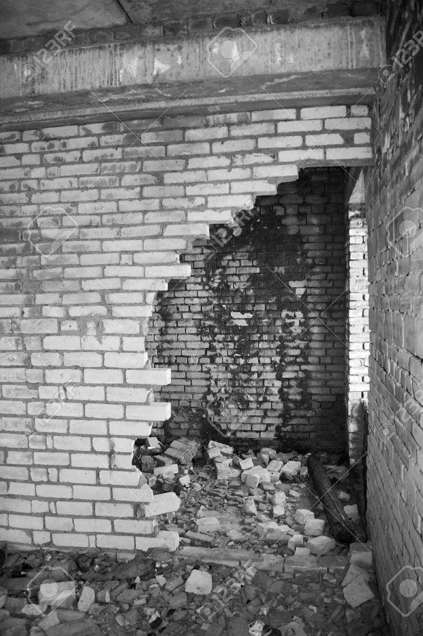 Ruins of a destroyed house abandoned building war time black and white photo