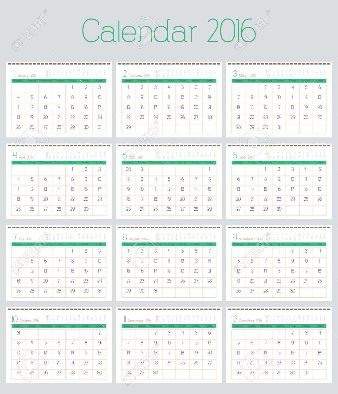 poster calendar for 2016 simple vector design print template