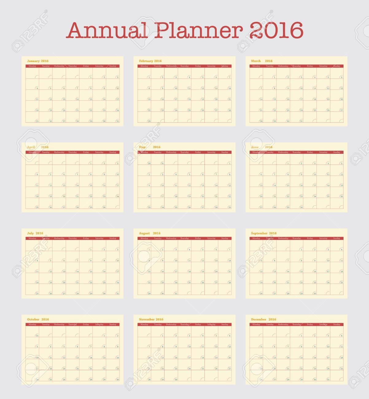 Plakat-Kalender Für 2016. Jahresplaner Für Das Jahr 2016, Einfache ...