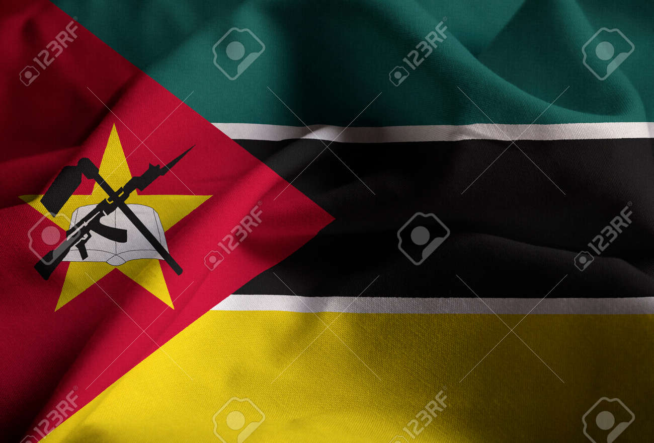 Closeup of Ruffled Mozambique Flag, Mozambique Flag Blowing in