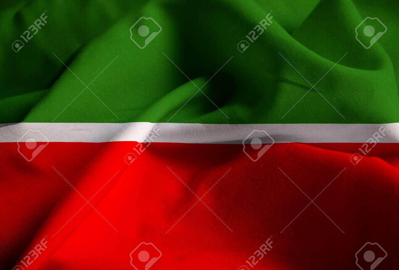 closeup of ruffled tatarstan flag tatarstan flag blowing in stock