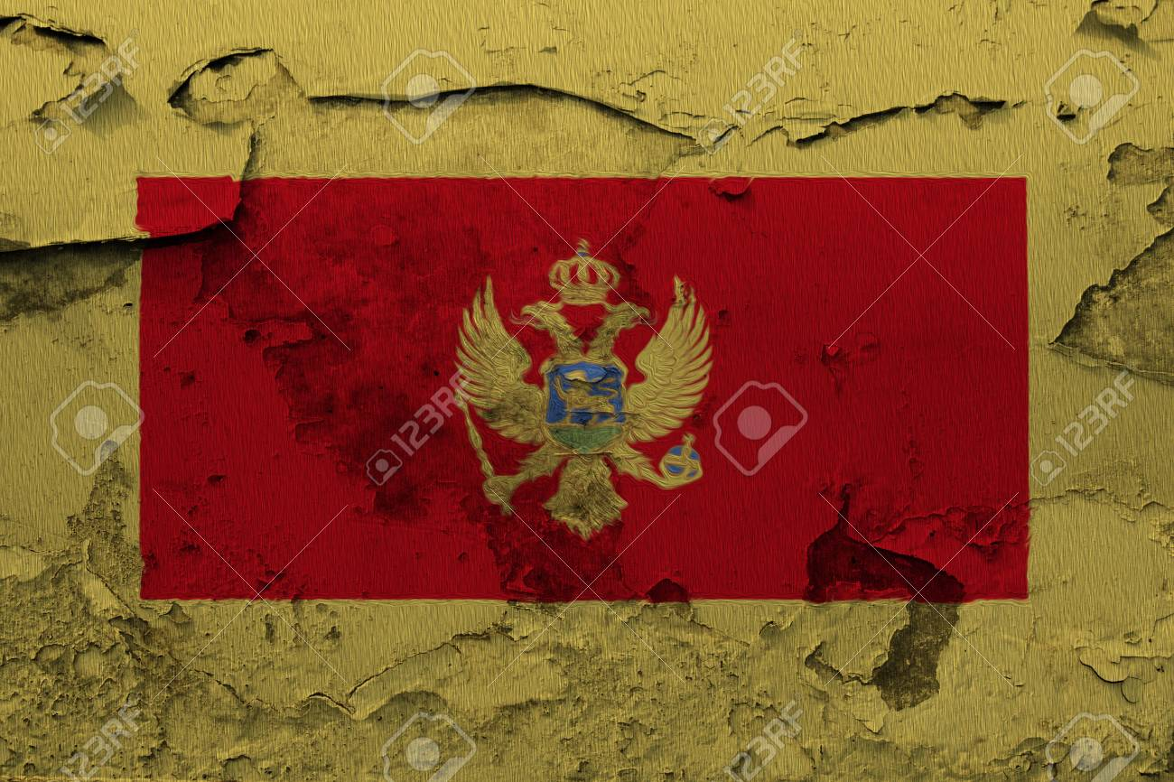 Painted national flag of Montenegro on a concrete wall - 106931768