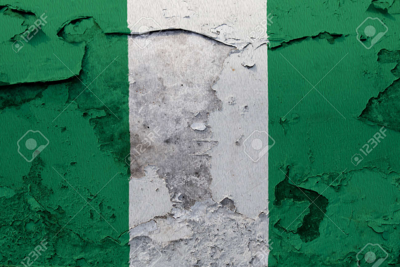 Painted national flag of Nigeria on a concrete wall - 106931694