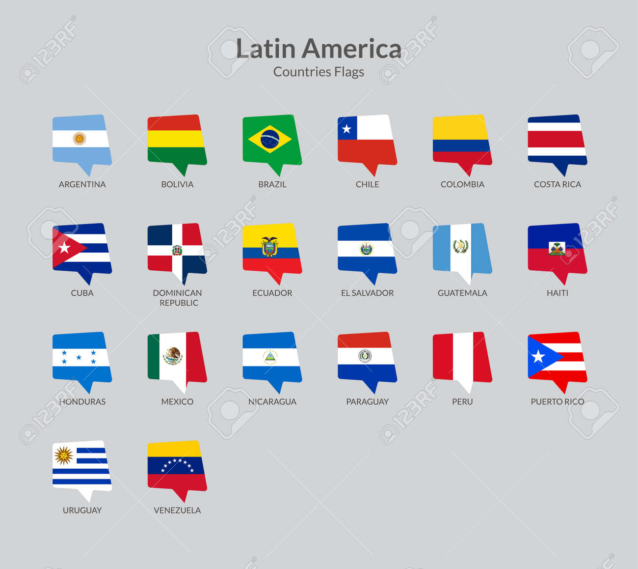 Latin American Countries Flag Icons Collection Royalty Free Cliparts Vectors And Stock Illustration Image 143383109