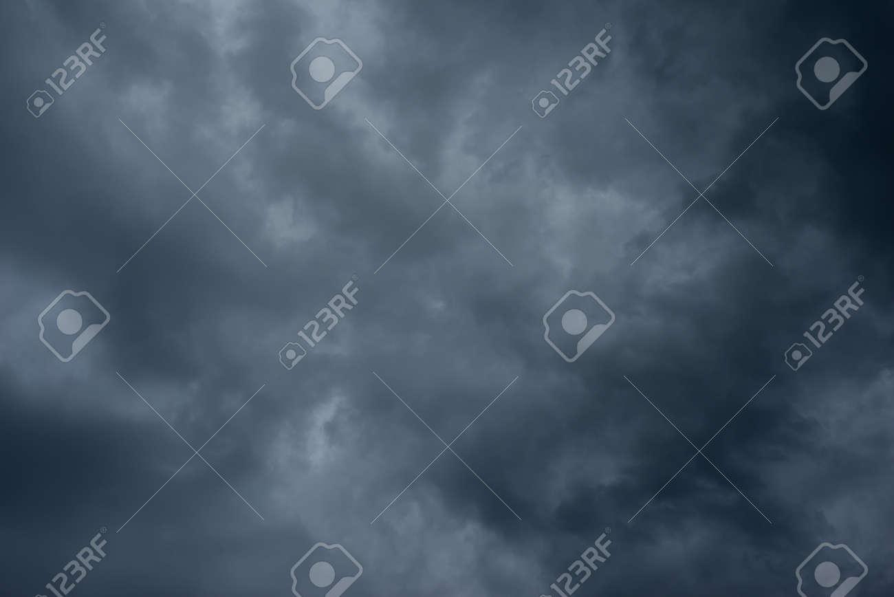 Dark black clouds in the sky, Stormy rain clouds background. - 148021035