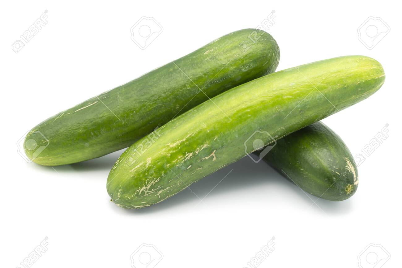Three cucumbers on an isolated white background - 148652275