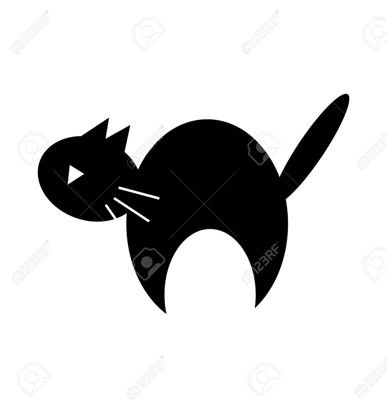 cute halloween black cat silhouette clipart stock vector 32055113 - Black Cat Silhouette Halloween