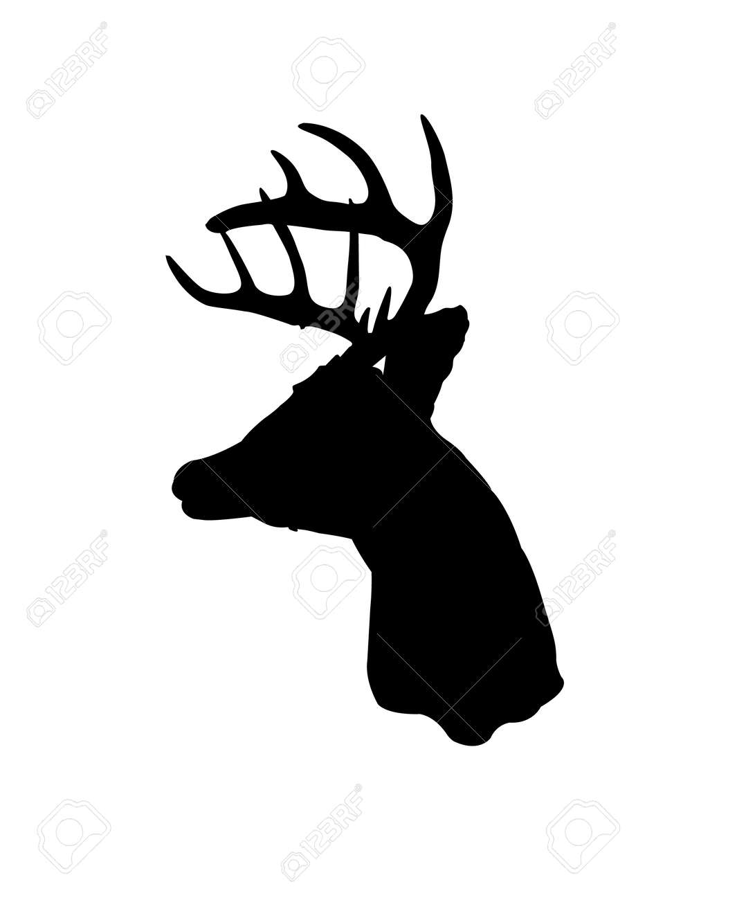 negro silueta de una imagen prediseñada venado cola blanca