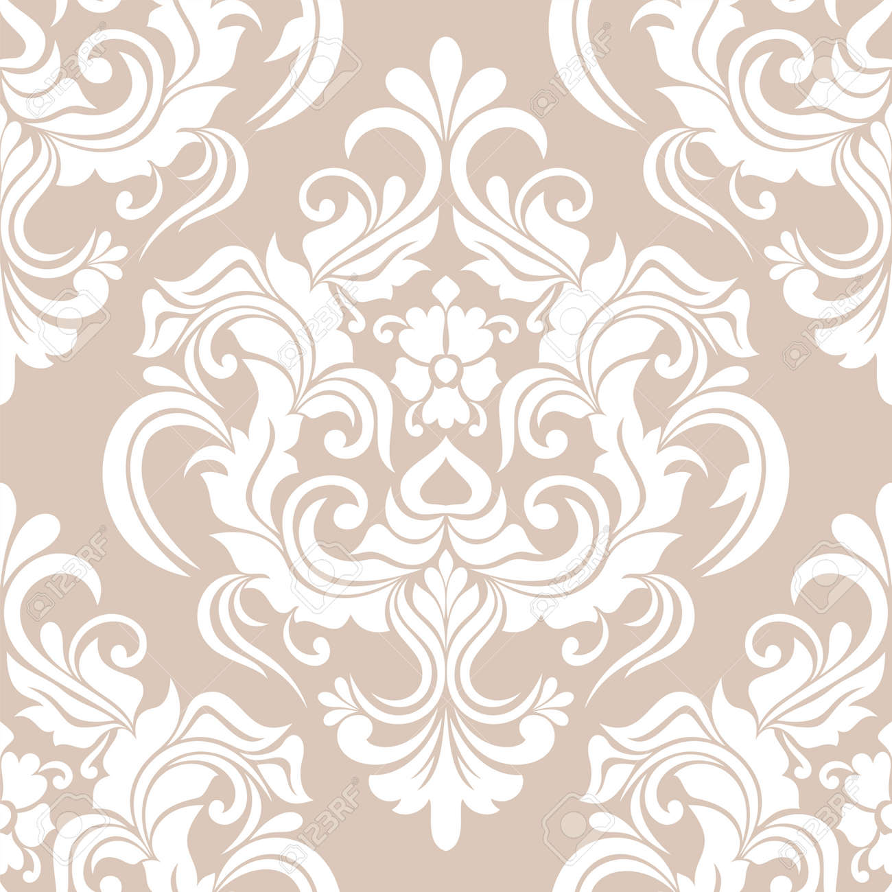 Damask seamless pattern. for wallpapers, elegant luxury texture floral ornament baroque. vector background. - 168803582