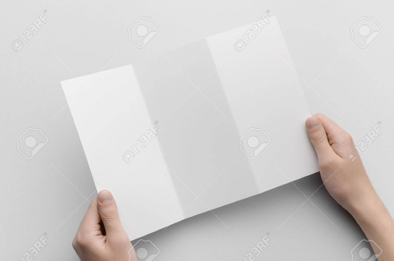 a4 z fold brochure mock up male hands holding a blank tri fold
