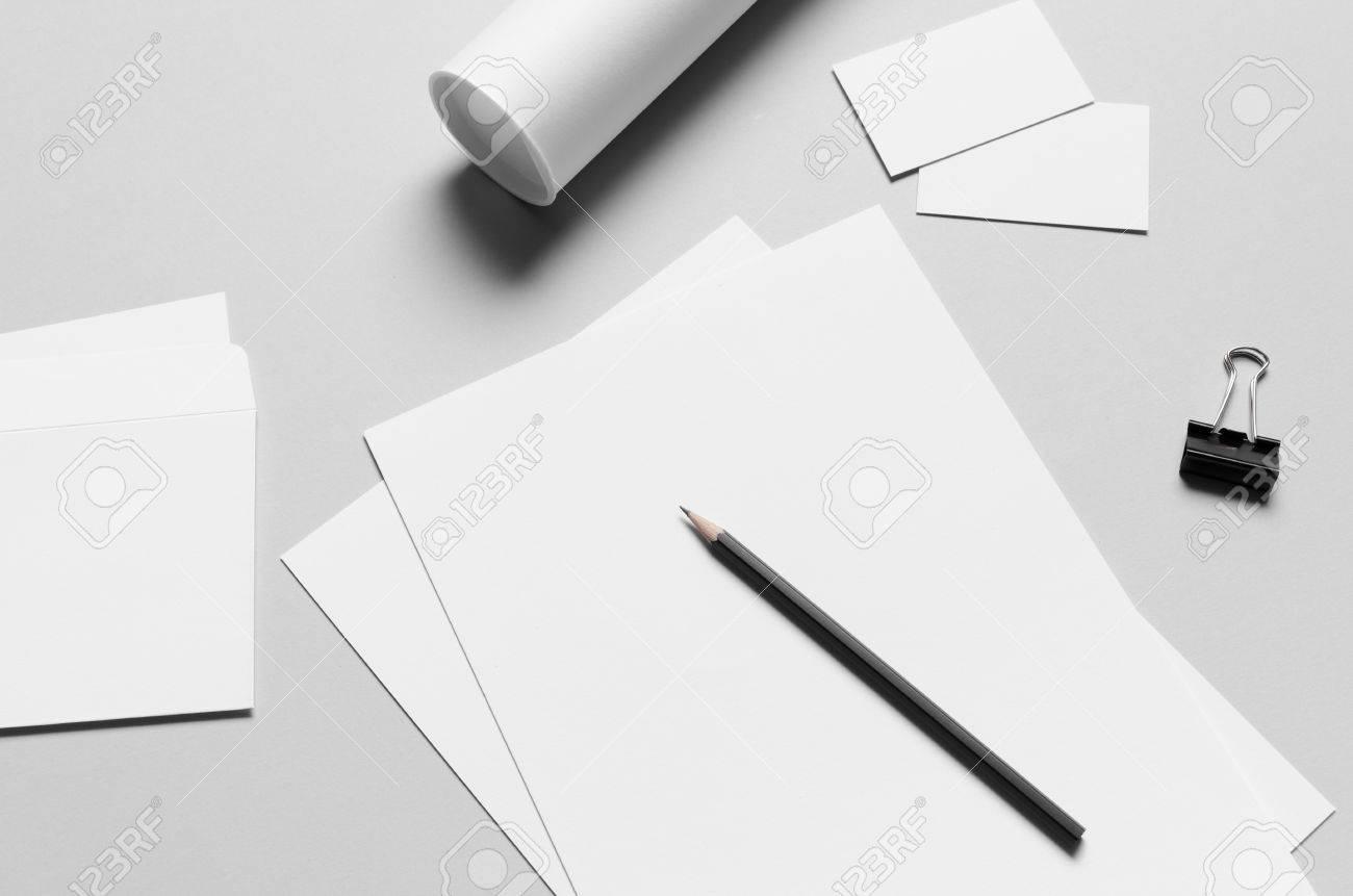 Branding Briefpapier Mock Up Weiß Briefkopf A4 Dl Umschlag